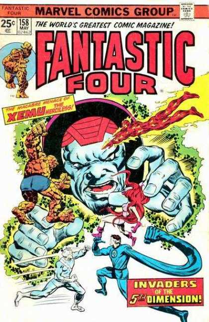 Fantastic Four 158 - Xemu The Merciless - Invaders Of The 5th Dimension - Quicksilver - Medusa - The Thing - Richard Buckler