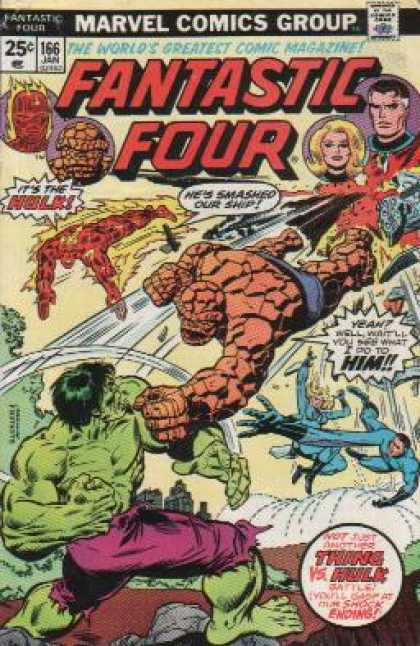 Fantastic Four 166 - Hulk - Thing - Ship - Crossover - Ending - Richard Buckler