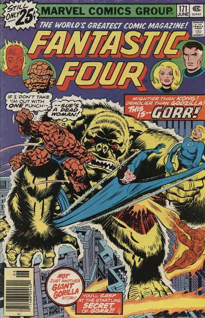 Fantastic Four 171 - Knock Out - Gorilla Man - Super Trek - Team Fight - Four On Gorilla