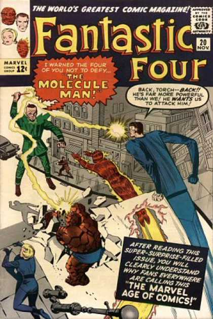 Fantastic Four 20 - Molecule Man - Torch - Attack - Comics - Marvel - Jack Kirby