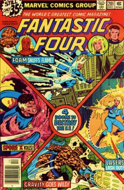 Fantastic Four 201 - Reed Richards - Gravity - Worlds Gretest Comic Magazine - Marvel Comics Group - Foam Snuffs Flame - Joe Sinnott