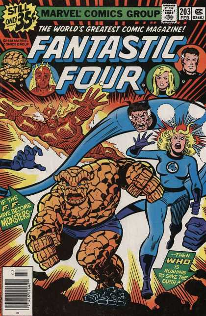 Fantastic Four 203 - Mister Fantastic - Invisible Woman - Human Torch - Thing - Action - Dave Cockrum, Joe Sinnott
