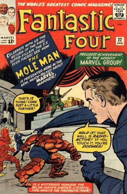 Fantastic Four 22 - Mole Man - Mr Fantastic - Thing - Human Torch - Fantastic Four - Jack Kirby