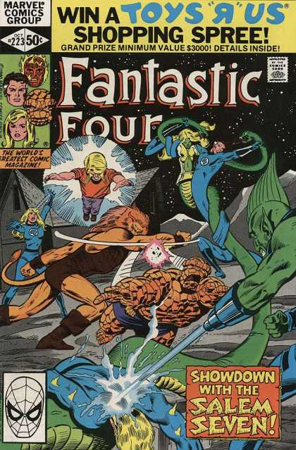Fantastic Four 223 - Oct 223 - Showdown With The Salem Seven - The Worlds Greatest Comic Magazine - 50 Cents - Marvel Comics Group - Bill Sienkiewicz