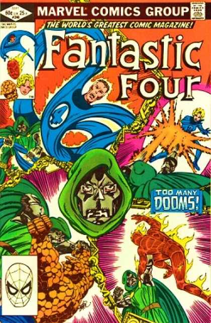 Fantastic Four 246 - Marvel Comics Group - The Worlds Greatest Comic Magazine - Tod Many Dooms - Ben - Invisible Girl - John Byrne