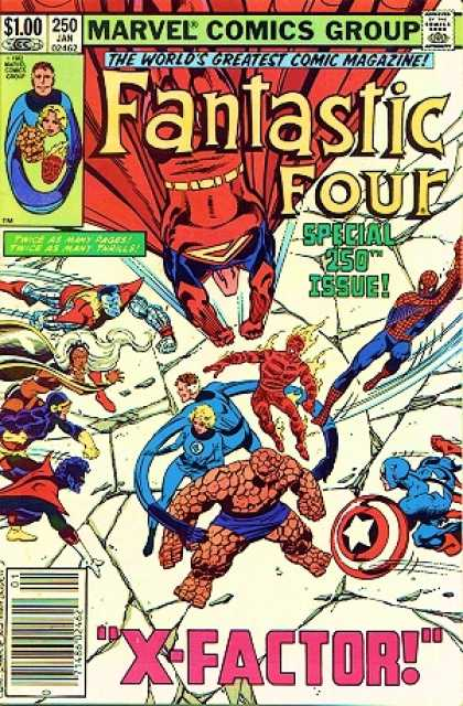 Fantastic Four 250 - Spider-man - Human Torch - Marvel Comics Group - Special 250th Issue - Captain America - John Byrne, Terry Austin