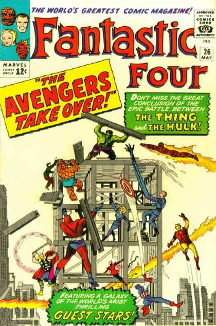 Fantastic Four 26 - Hulk - Building - Avengers - Thing - Thor - Jack Kirby
