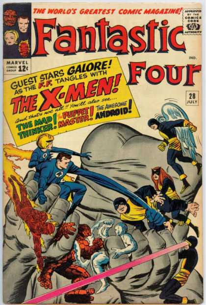 Fantastic Four 28 - X-men - The Awesome Android - The Puppet Master - The Mad Thinker - Marvel Comics - Jack Kirby
