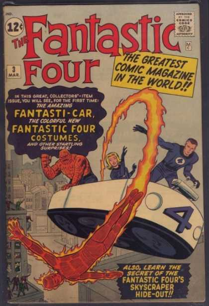 Fantastic Four 3 - Fantasti-car - Thing - Invisible Woman - Human Torch - Buildings - Jack Kirby, Jim Lee