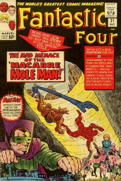 Fantastic Four 31 - Mole Man - Thing - Human Torch - Hole - Invisible Woman - Jack Kirby