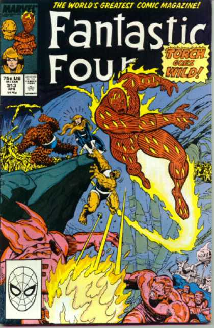 Fantastic Four 313 - Thing - Human Torch - Rocks - Torch Goes Wild - Invisible Woman - Joe Sinnott