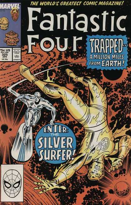 Fantastic Four 325 - Enter The Silver Surfer - Trapped - A Million Miles From Earth - Silver Surfer - Johnny Flame - Space - Joe Sinnott