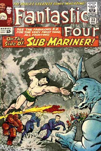 Fantastic Four 33 - Sub-mariner - Namor - Gargoyle - Fighting - The Thing - Jack Kirby