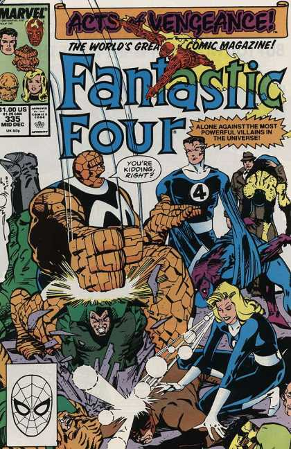 Fantastic Four 335 - Acts Of Vengeance - Trench Coat - Spiderman Head - Stretched Arms - Marvel - Walter Simonson