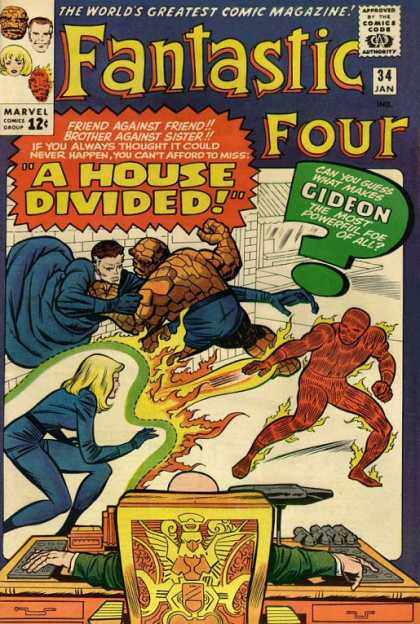 Fantastic Four 34 - Human Torch - Invisible Woman - Thing - Marvel - House Divided - Jack Kirby