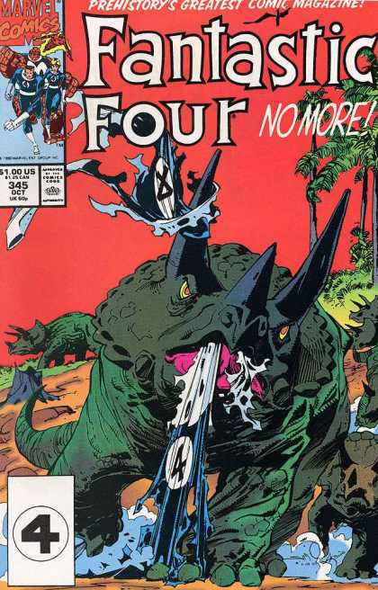 Fantastic Four 345 - Marvel - Dinosaur - The Thing - Human Torch - Invisible Girl - Walter Simonson