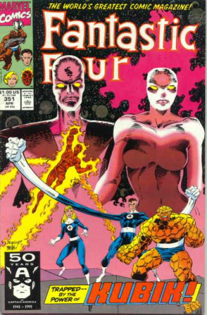 Fantastic Four 351 - Fire - Thing - Stretch - Eyes - Kubik - Dan Panosian, Mark Bagley