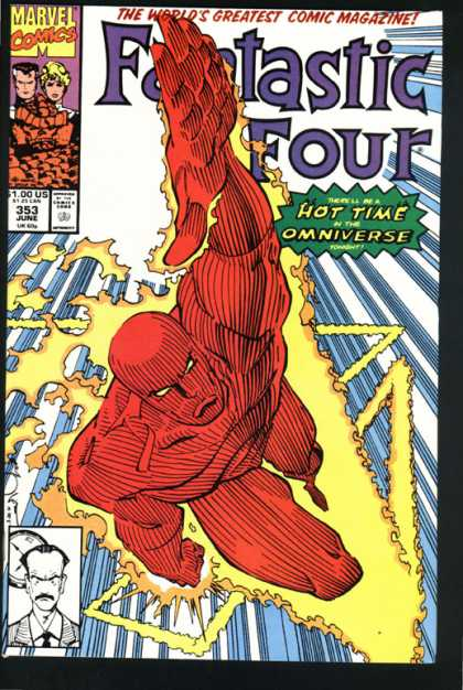 Fantastic Four 353 - Human Torch - Charging Upward - Red Body - Hot Time In The Omniverse - Fire - Walter Simonson