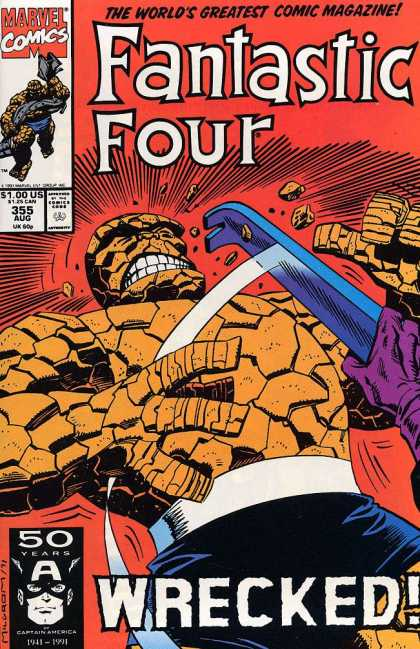 Fantastic Four 355 - Pow - Thing - Fight - Marvel - Wrecked