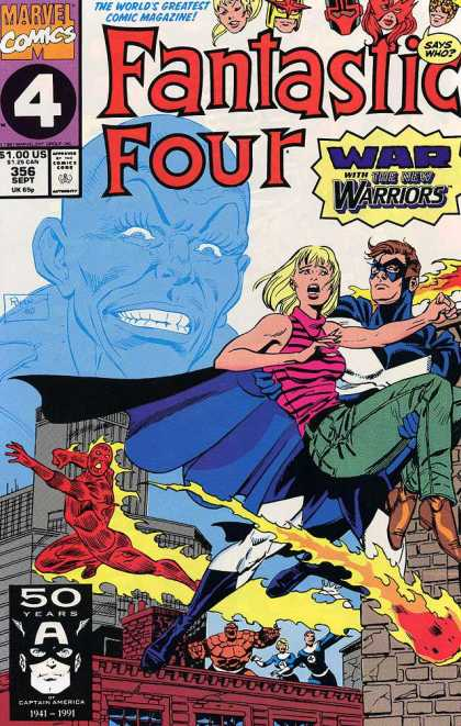 Fantastic Four 356 - Human Torch - Big Blue Face - Billboard - Brick Building - Fireball - Paul Ryan