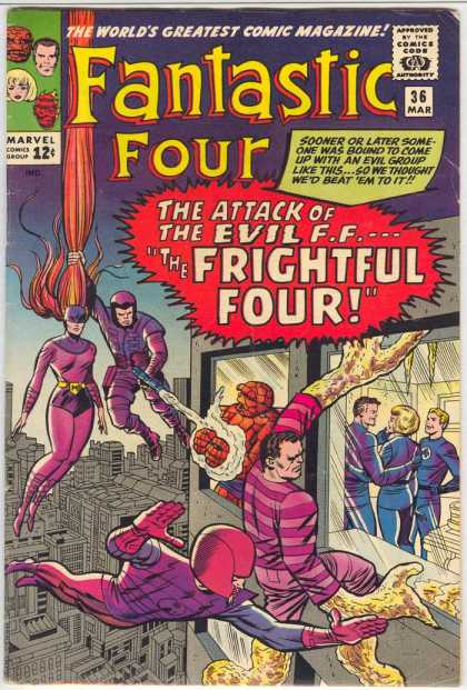 Fantastic Four 36 - Medusa - Sandman - Marvel Comics - The Attack Of The Evil - Worlds Greatest Comiv Magazine - Jack Kirby