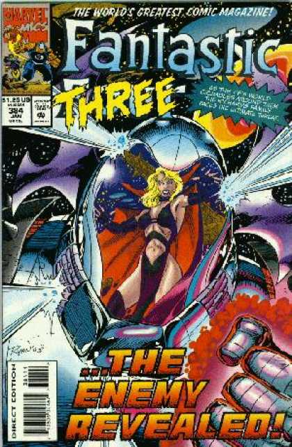 Fantastic Four 384 - Fantastic Three - Space - Marvel Comics - The Enemy Revealed - Direct Edition - Paul Ryan