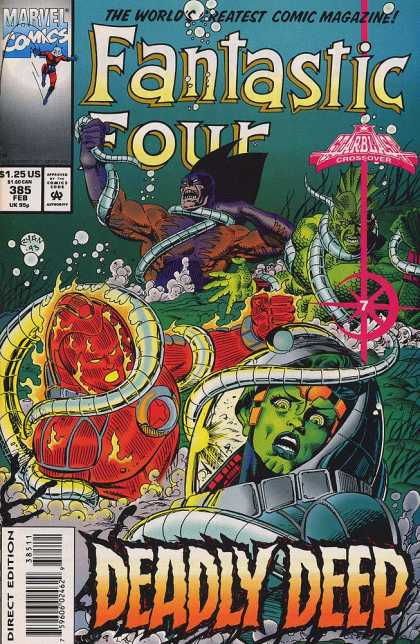 Fantastic Four 385 - Marvel Comics - The Worlds Greatest Comic Magazine - Deadly Deep - Ocean - Scuba Diver - Paul Ryan