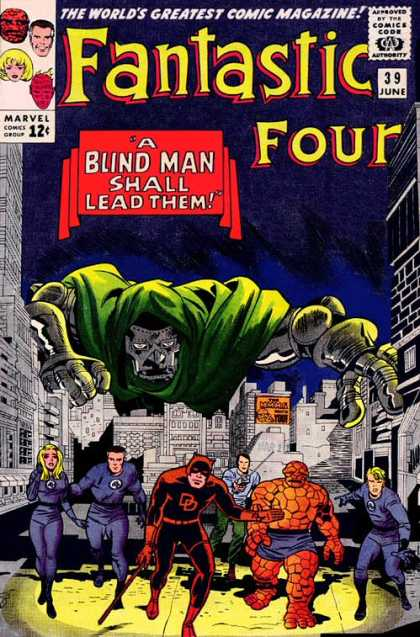 Fantastic Four 39 - Daredevil - Dr Doom - City - Thing - A Blind Man Shall Lead Them - Jack Kirby