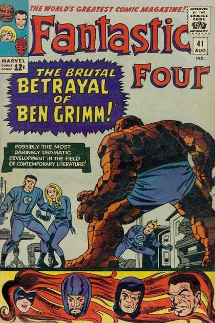 Fantastic Four 41 - Ben Grimm - Blue - Furniture - Blonde - Red Hair - Jack Kirby