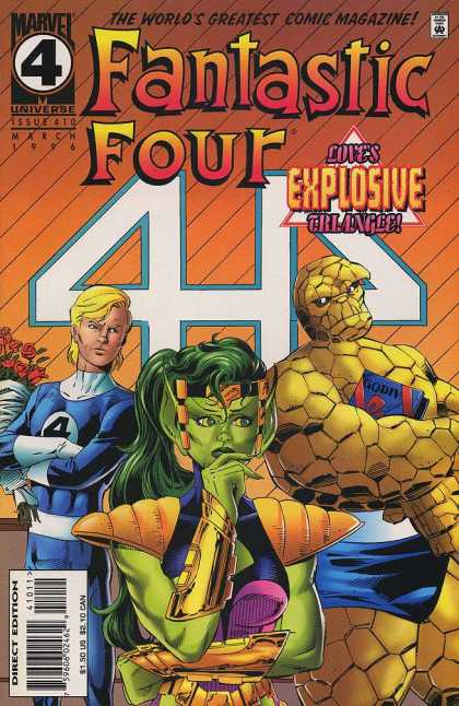 Fantastic Four 410 - Explosive - The Thing - Johnny Storm - Green Woman - Posed