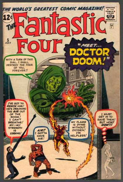 Fantastic Four 5 - Doctor Doom - Thing - Mr Fantastic - Human Torch - Invisible Girl - Jack Kirby, Jim Lee