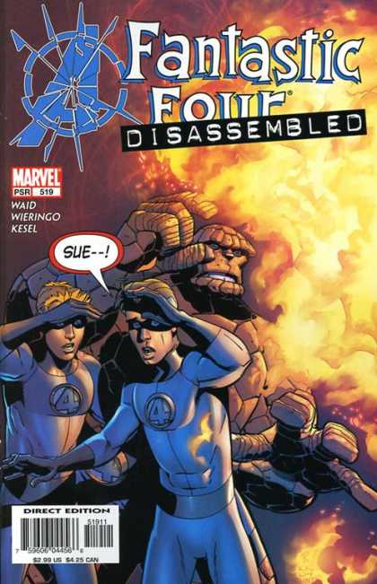Fantastic Four 519 - Thing - Human Torch - Mr Fantastic - Fire - Disassembled - Mike Wieringo