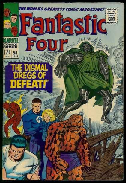 Fantastic Four 58 - The Dismal Dregs Of Defeat - Rock Man - Green Cape - The Worlds Greatest Comic Magazine - Smoke - Jack Kirby