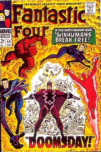 Fantastic Four 59 - The Inhumans Break Free - The Thing - Invisible Girl - Human Torch - Doomsday - Jack Kirby