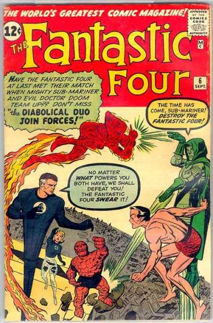 Fantastic Four 6 - Dr Doom - Thing - Marvel - Marvel Comics - Neptune - Dick Ayers, Jack Kirby