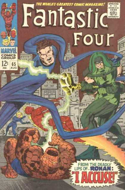 Fantastic Four 65 - Ronan - Thing - Human Torch - Mr Fantastic - City Scape - Jack Kirby