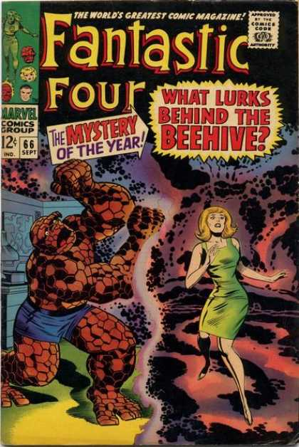 Fantastic Four 66 - Thing - Marvel Comics - What Lurks Behind The Beehive - The Mystery Of The Year - The Thing - Jack Kirby