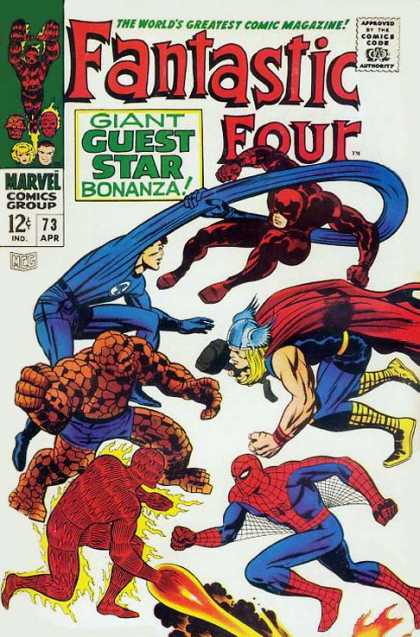 Fantastic Four 73 - Spiderman - Thor - Stretched Blue Arm - Arm Around Red Guy - Flame - Jack Kirby