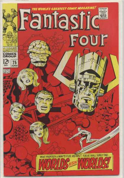 Fantastic Four 75 - Red - Silver Surfer - Worlds Within Worlds - Molecules - Marvel - Jack Kirby