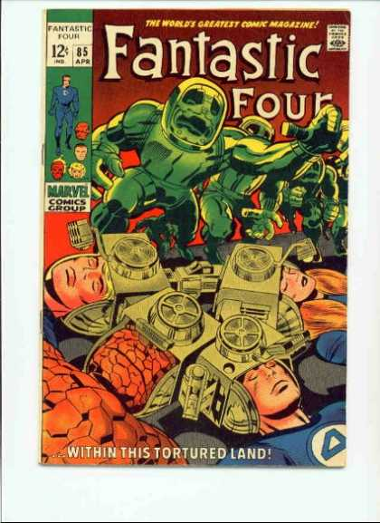 Fantastic Four 85 - Aliens - Head Gear - Susan Storm - The Thing - Unconcsious - Jack Kirby