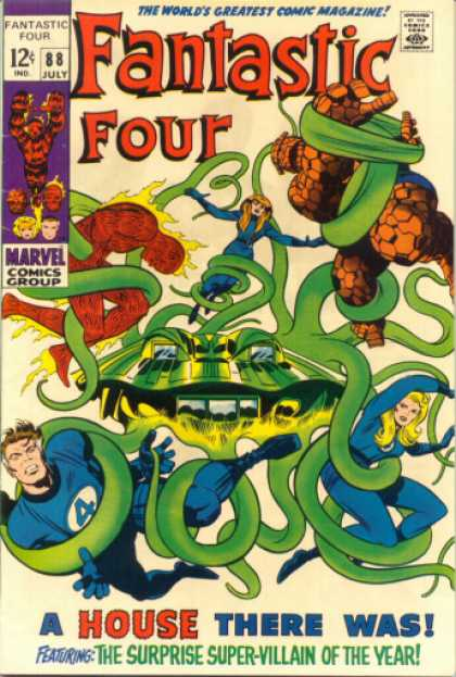 Fantastic Four 88 - Mr Fantastic - The Thing - The Torch - Surprise Super Villain - Green Tentacles - Jack Kirby