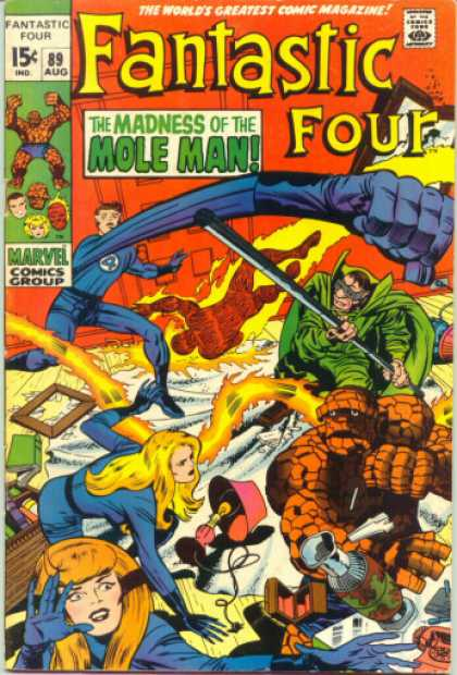 Fantastic Four 89 - Mole Man - Thing - Mr Fantastic - Jack Kirby