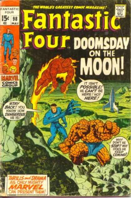 Fantastic Four 98 - Moon - Rocket - Human Torch - Thing - Jack Kirby