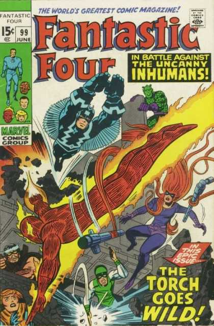 Fantastic Four 99 - Black Bolt - Medusa - Inhumans - Human Torch - Single-handedly - Jack Kirby