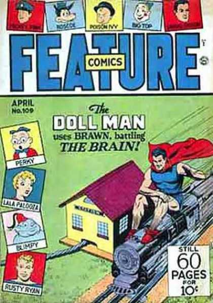 Feature Comics 109 - Doll Man - Brawn Battling The Brain - Train - April No 109 - Perky