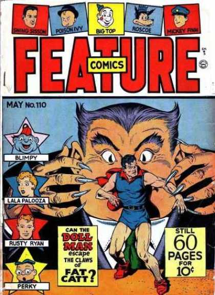 Feature Comics 110 - Clawed Villain - Superhero - Rusty Ryan - Blimpy - Lala Palooza