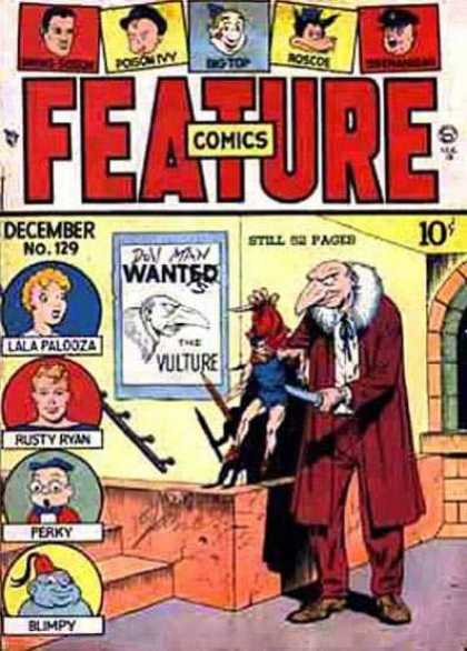 Feature Comics 129 - Funny Characters - Masonry - Poster - Threatening - Vulture