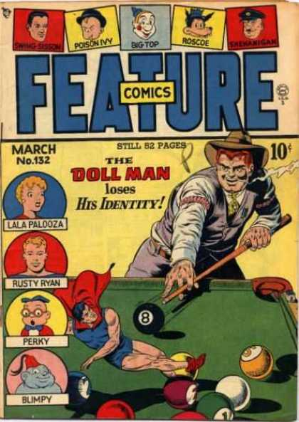 Feature Comics 132 - Pool Table - Cue - 8 Ball - Cigar - Hat