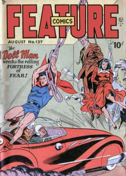 Feature Comics 137 - Doll Man - Chains - Hostages - Race Car - Hanging By Chains