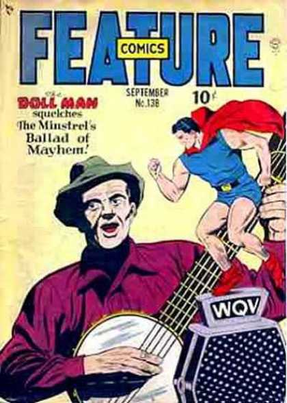 Feature Comics 138 - Banjo - Cape - Singing Music - Radio Microphone - Puppet